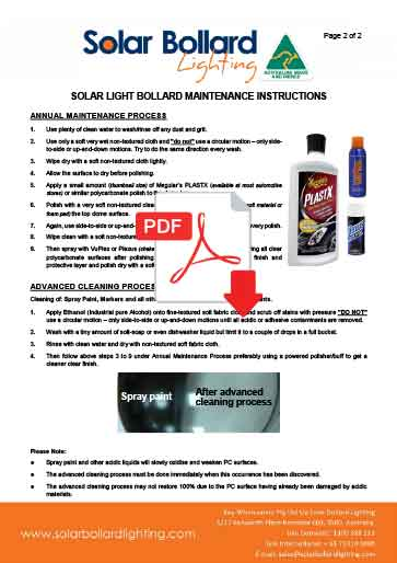 SBL and SBL2 Solar Bollard Maintenance